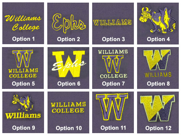 Williams College Embroidered Clothing
